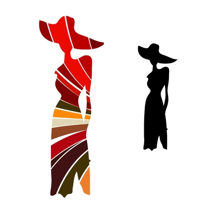 Silueta femenina y la suspensión del maniquí de hierro negro Ilustración de vector