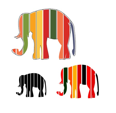 Merry abstract funny elephant Rainbow Vector