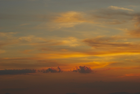 sunset sky With gold Lighted Clouds Stock Photo - 14830602