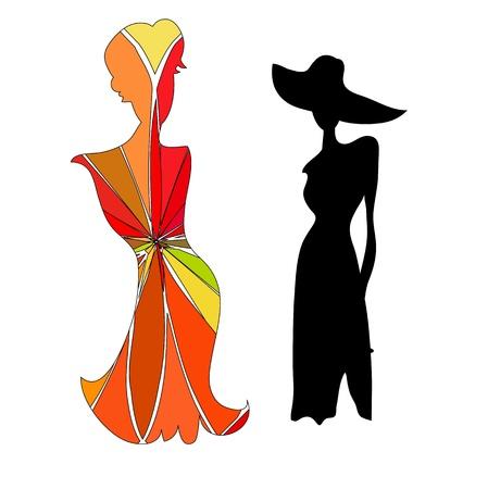 실루엣 여성 마네킹과 검은 철 옷걸이