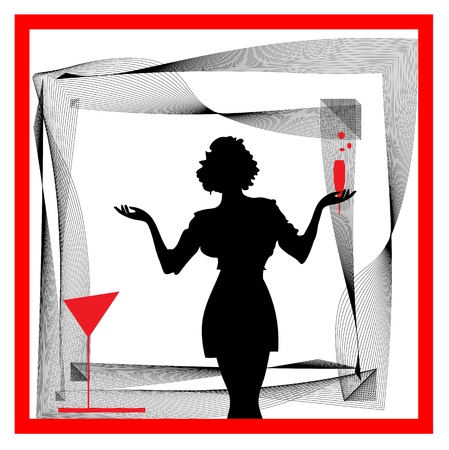 Abstraction WOMAN silhouette black and red glass Vector