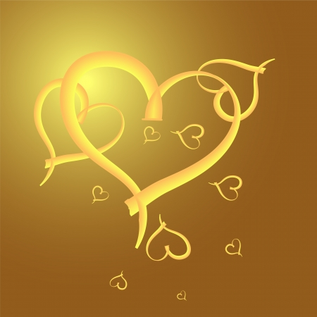 Gold heart  frame for valentine day Vector