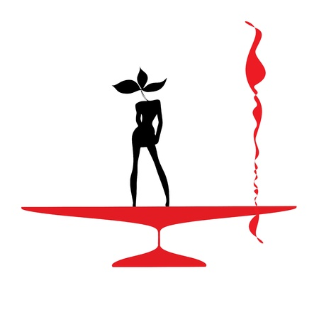 Abstraction WOMAN silhouette black and red glass Stock Vector - 15273851