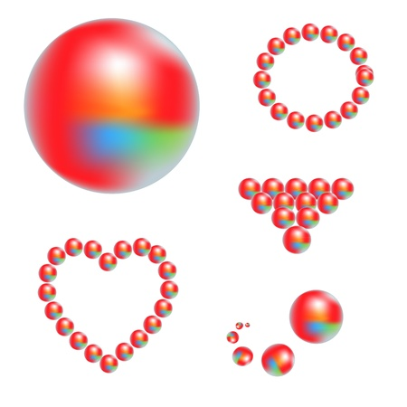 shiny balls and hearts different colors Stock Vector - 15381931