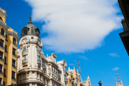 Historic buildings with lace fronts of Madrid photo