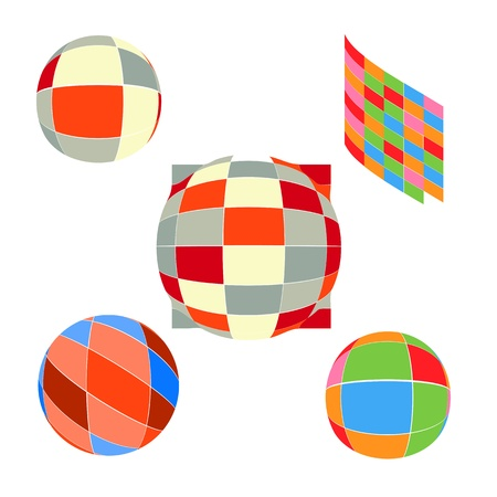 shiny balls and hearts different colors Vector