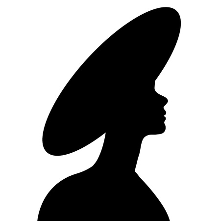 black silhouette of  young beautiful girl Vector