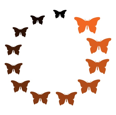 colorful Butterfly mixed orange black in circle Illustration