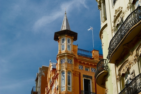 Historic  buildings with lace fronts Spain Stock Photo - 15902767