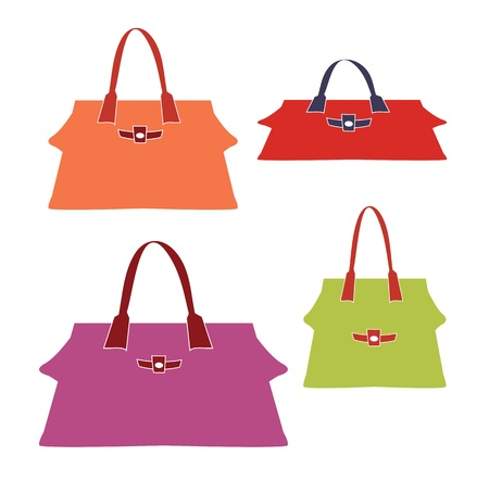 Colorful women bags isolated on white background Illustration