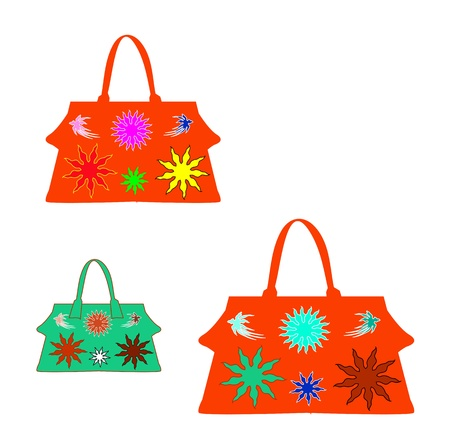 Colorful women bags isolated on white background Stock Vector - 16166057