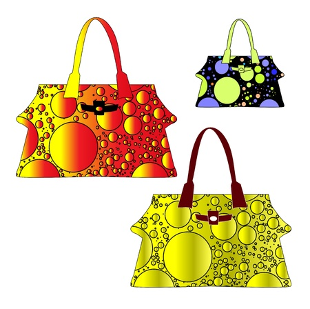 Colorful women bags isolated on white background Vector
