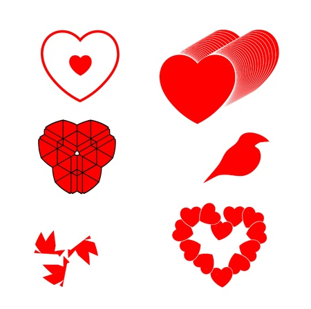 set of different red hearts bird and symbols Illustration