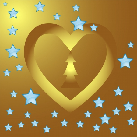Gold heart  frame for valentine day Illustration