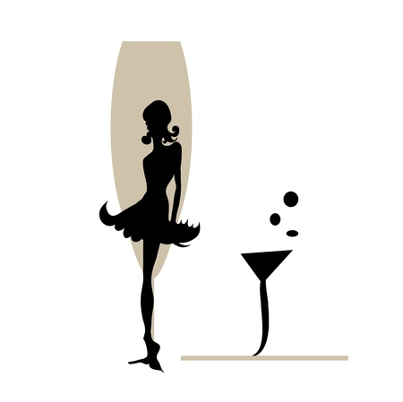 champagne glasses: Abstraction WOMAN silhouette black