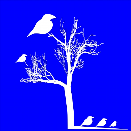White birds figure isolated over blue Vector