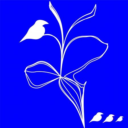 White birds figure isolated over blue Stock Vector - 16675661