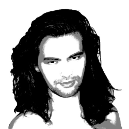 portrait Young hypnotic sexy guy black and white with long hair Stock Vector - 16818901