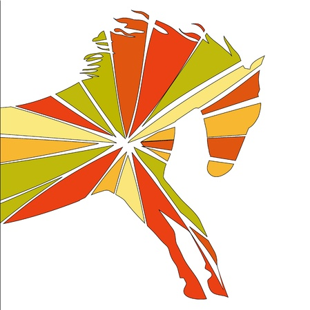 free riding: horse fine silhouette color over white