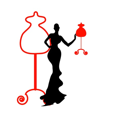Silhouette of the female of mannequin and red iron hanger within the portrait framework