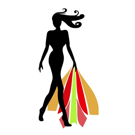 Silhouette female mannequin and black iron hanger Stock Vector - 17144028