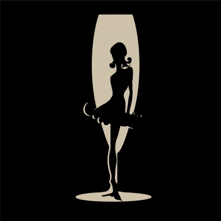 Elegant black silhouette of  beautiful woman with hearts Illustration
