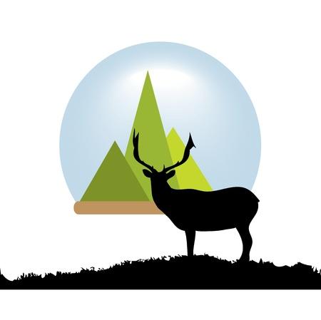 deer fine silhouette black Stock Vector - 17469544