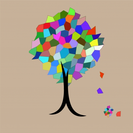 Mosaic Tree falling leaves Vector