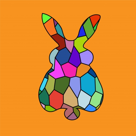 Bunny rabbit portrait mosaic bright colorful