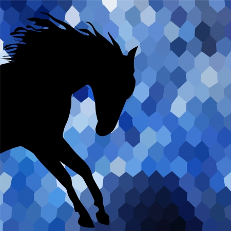 horse fine silhouette color Vector