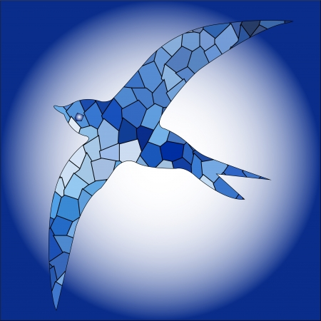 Swallow bird blue color mosaic Vector