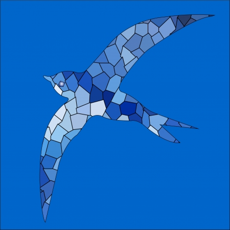 Swallow bird blue color mosaic Vector