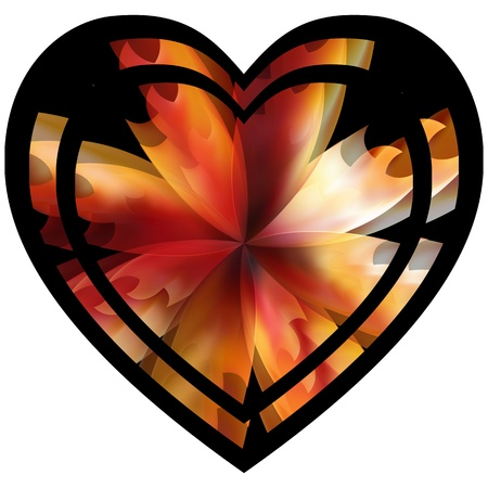 heart with floral flames against white background Stock Vector - 17696106