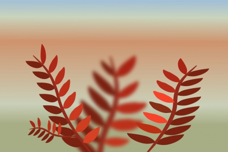 Branch of tree with red leaves on landscape blurred background Stock Vector - 17815784