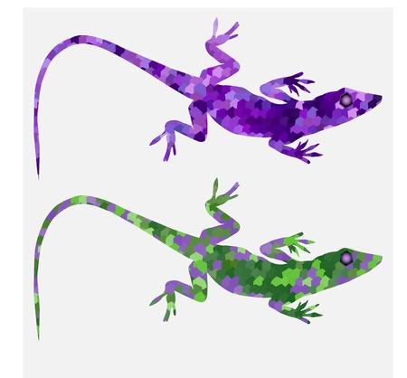 Set of color lizards salamanders purple Illustration