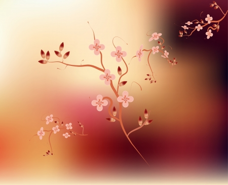 Traditional Japanese branch cherry blossom pink background Vector