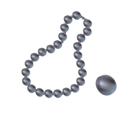string together: beads with BLACK pearls romantic Illustration