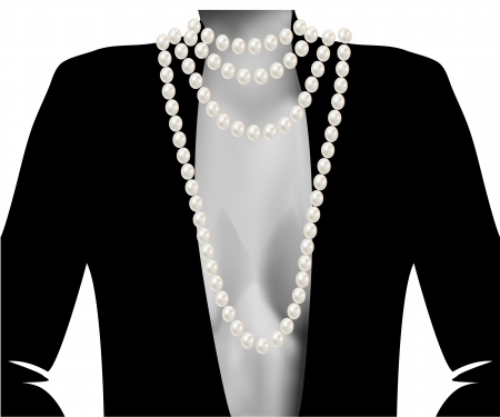 Silhouette of the female white and black with beads large beautiful pink pearls romantic Vector
