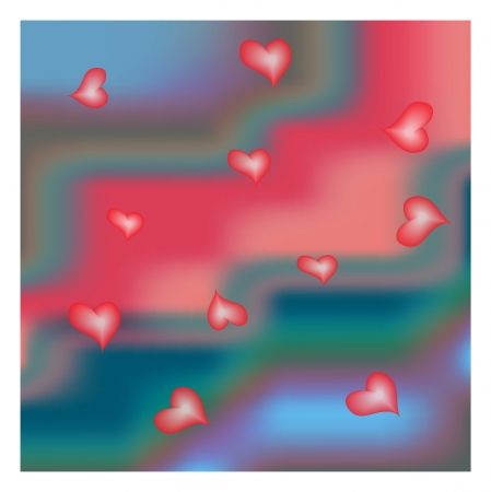 silky velvet: Red AND BLUE silk background with some Hearts