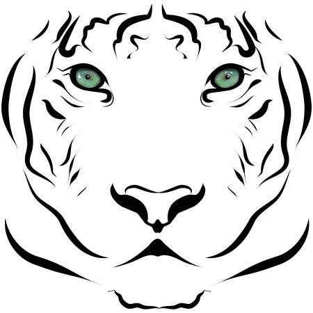 Black and white portrait of big tiger Vector