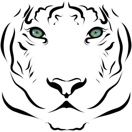 Black and white portrait of big tiger
