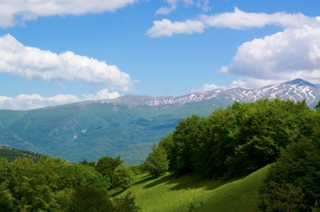 Beautiful view Italy in the high mountains 1,500 meters above sea level