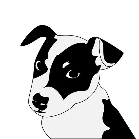 grappige honden: Silhouet van grappige speelse kleine puppy