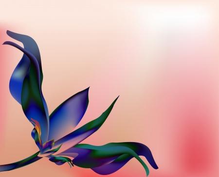 Rose blue petal flower  shell on pink golden background