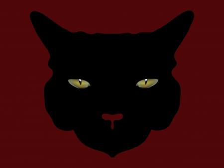 awful: Head of a black awful horror cat Stock Photo