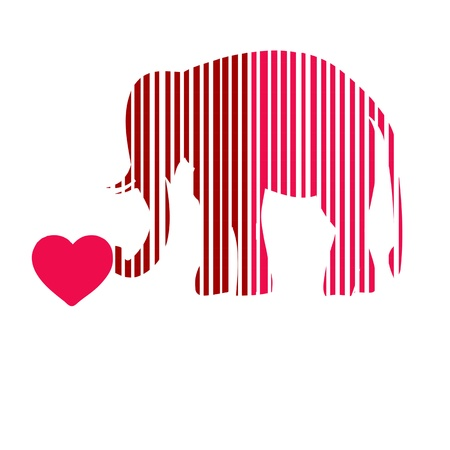 Merry abstract funny elephant of all colors pink photo