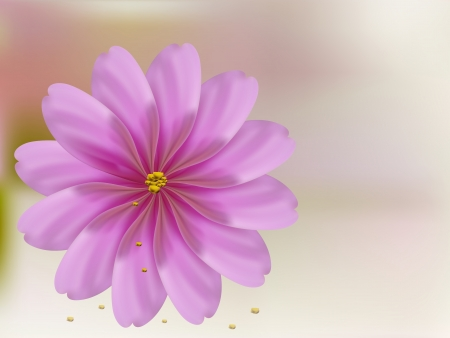 Rose petal flower  shell on pink golden background bokeh Illustration