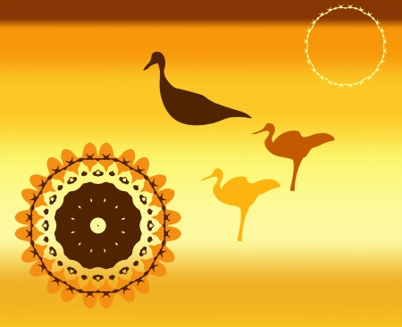 Silhouettes of wild birds at sunset on background of hot southern sky Stock Vector - 21958802