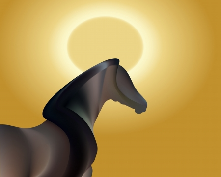2014 Chinese Lunar New Year with Happy GOLD Horse Vector