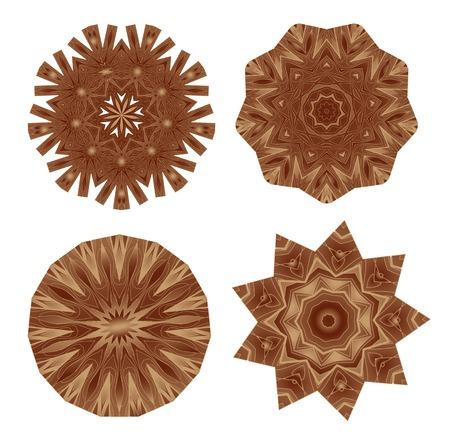 hardwood flooring: Набор декоративной деревянной коричневой мозаичного паркета покрытия стола Иллюстрация